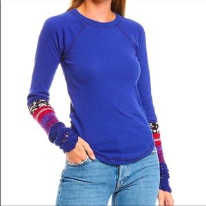 Free People The Mix Cuff Long Sleeve Knit Top Sz L